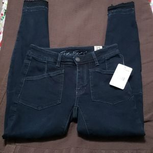 Free People Womens Navy Pocketed Zippered Jeans 25